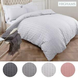 Highams Seersucker Duvet Cover with Pillowcase Bedding Set Silver White Charcoal