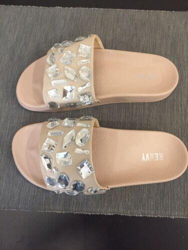 Beige Jeweled sandali Nuovi Renvy Size 8 Slide FvBzHqw07