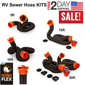 Camco Rhinoflex 5 10 15 And 20 Rv Sewer Hose Kit Includes Swivel Fittings Ebay