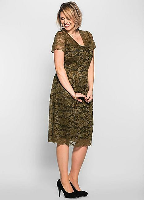 Anna Scholz for Sheego Khaki Green Floral Lace Dress Size 26
