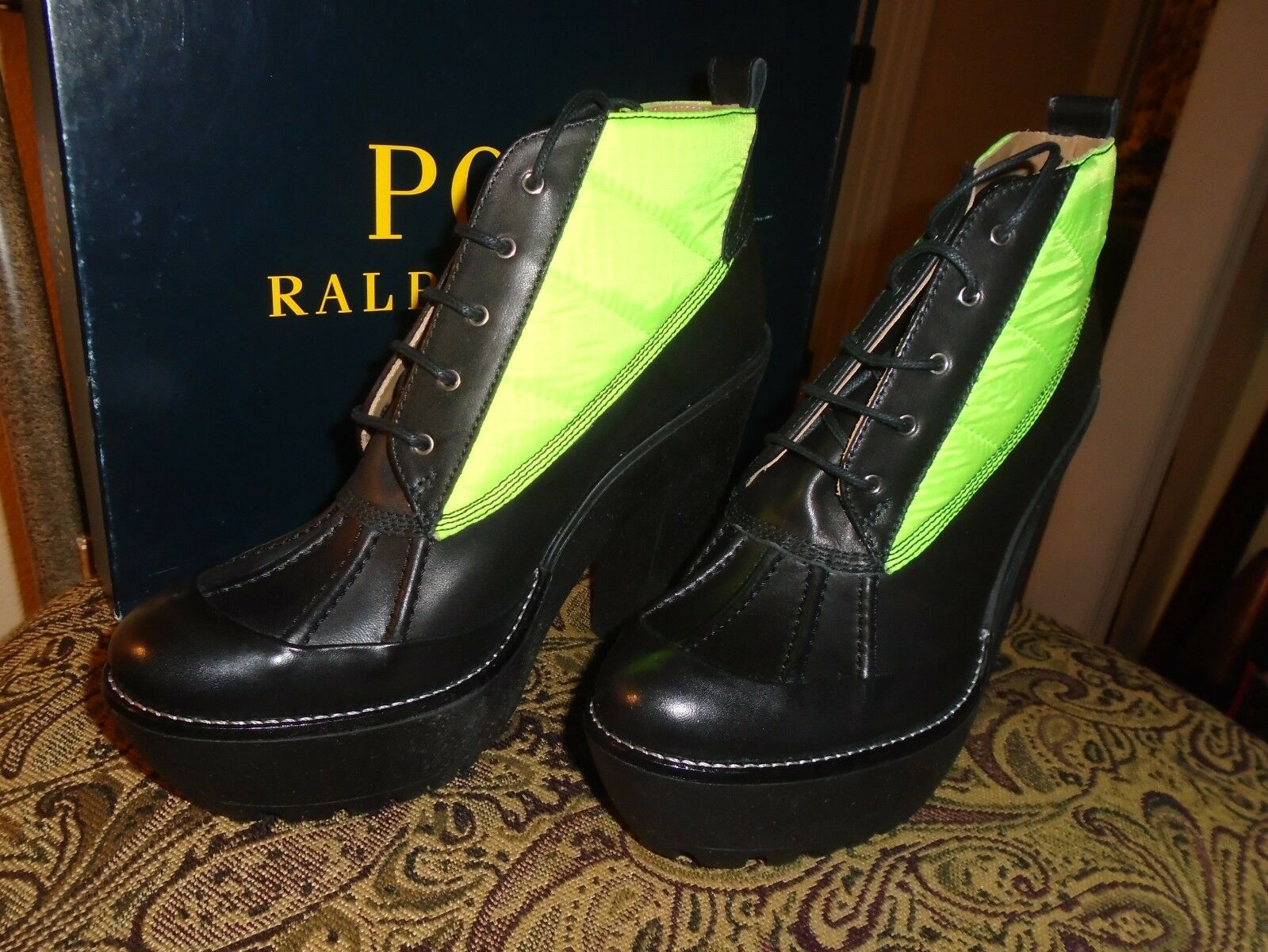 POLO RALPH LAUREN ANKLE LEATHER BOOTS    8B