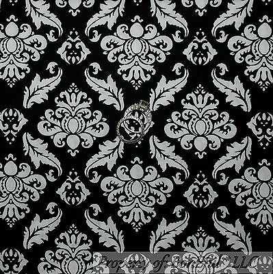 BonEful FABRIC FQ Cotton Quilt Black White B&W Flower Damask Shabby Chic Sm Leaf