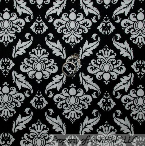 BonEful FABRIC FQ Cotton Quilt Black White B/&W Flower Damask Shabby Chic Leaf NR