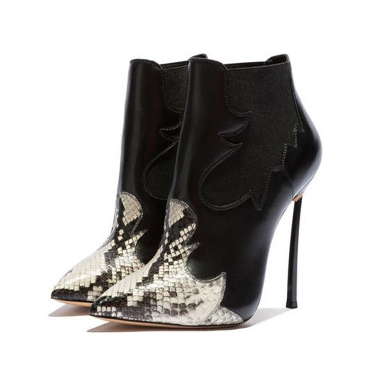 Womens Trendy Sexy Serpentine Pointy Toe Pull On Ankle Boots Club High Heels