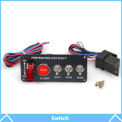 Ignition Switch Panel Engine Start Starter Push Button LED Toggle Racing Car