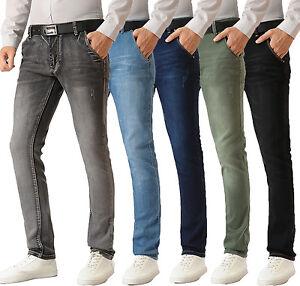 Homme-Slim-Stretch-Jeans-Denim-Skinny-Pantalon-Lave