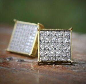 Men-039-s-14K-Gold-Plated-Square-Screw-Back-Stud-Earrings-Aventura-Jewelry