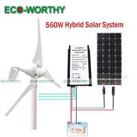 560w Kit: 400w Wind Turbine Generator + 20a 12v/24v Controller+160w Solar Panel