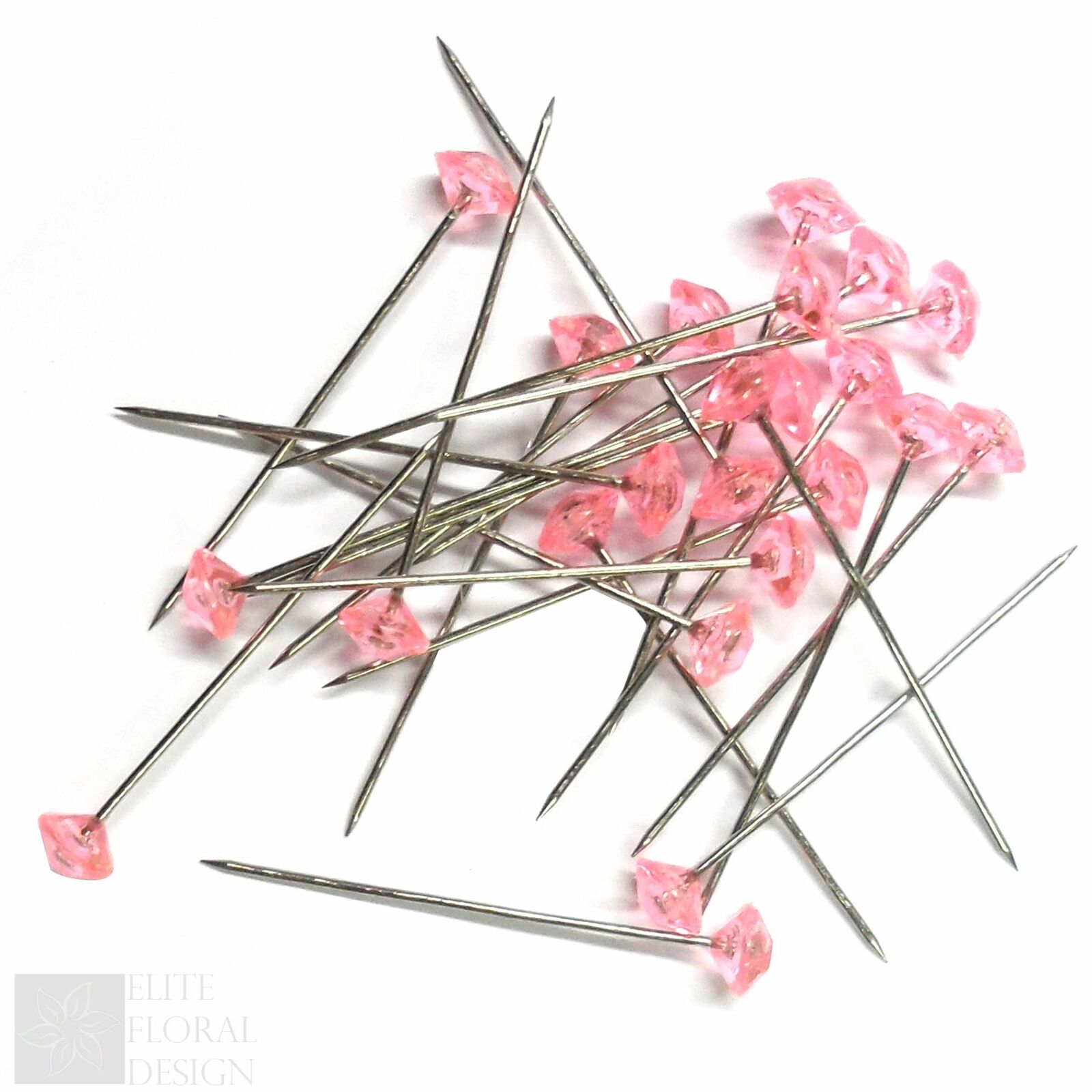 Quality 12 Diamante diamonte pins Buttonholes Wedding flowers 1.5 inch 4mm head