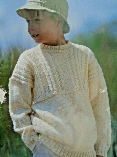 "GIRLS  BOYS 2-12 yrs  GUERNSEY STYLE JUMPER DK Knitting Pattern 22-32/"" 267."