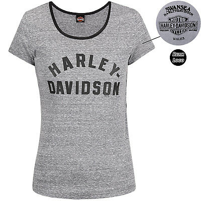 Harley Davidson Race Curve Black Ladies T-Shirt Swansea Limited Edition