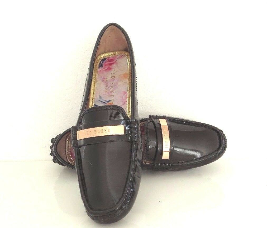 Ted Ted Ted Baker Ladies Black Patent Leather Loafers  Moccasins e2163b