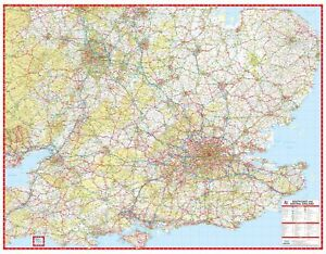 Map Of Central Arizona.South East Central England A Z Road Map Gloss Laminated Wall Map