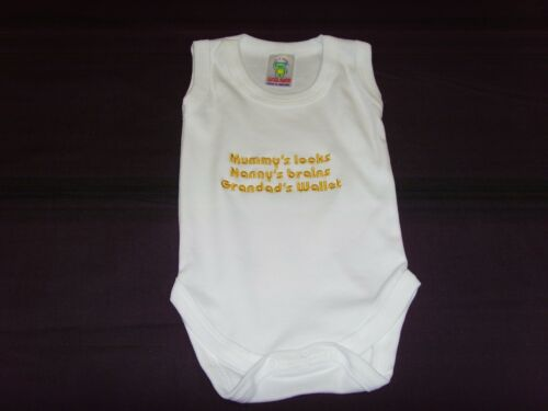 Funny Embroidered Personalised Vest Baby Shower Gift mummys nannys grandads wall