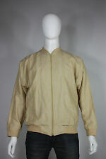 Bullock & Jones jacket M cotton linen fleck lightweight bomer zip up beige khaki
