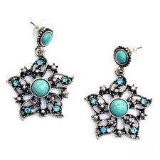 New Fashion Hot Luxury Women Turquoise Rhinestone Star Flower Jewelry Earrings