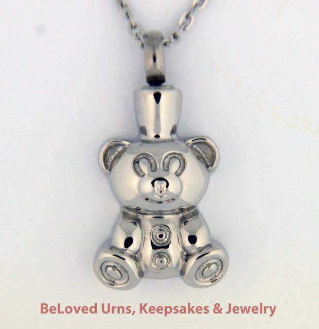 Teddy Bear Cremation Jewelry Pendant Urn w/ Chain & Funnel Child, Boy, Girl
