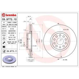 Brembo 2x disques de frein Aéré internement recouvert 09.9772.11