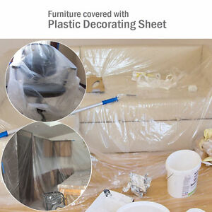 Dust Sheet Clear Plastic Cover Protection Furniture