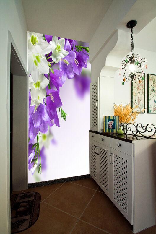 3D Blaue, Weiße blüten 379 Fototapeten Wandbild Fototapete BildTapete Familie DE