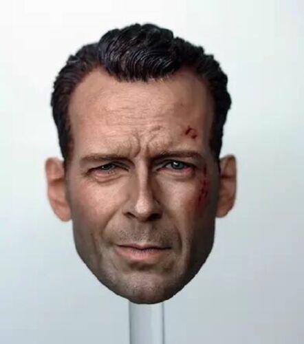 1//6 Bruce Willis Head Sculpt John McClane Die Hard Bashing For Hot Toys Phicen