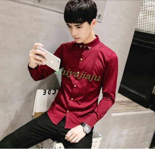 Men/'s Fashion Metal Decor Long Sleeve Dress Shirt Business Slim Shirt Tops Size