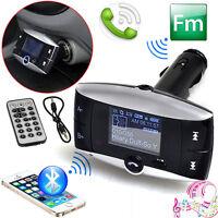 Wireless Bluetooth Car LCD MP3 Player FM Transmitter + SD USB Slot Remote Kit UK