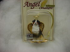 AUSTRALIAN SHEPHERD dog ANGEL Ornament Figurine Christmas puppy TRI COLOR AUSSIE
