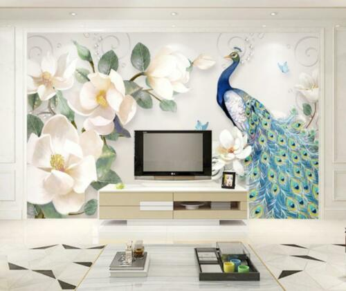 show original title Details about  /3D Peacock Flower H1558 Wallpaper Wall art Self Adhesive Removable Sticker Wend