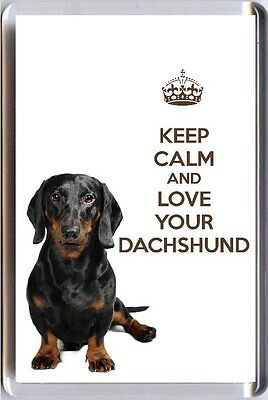 KEEP CALM and LOVE YOUR DACHSHUND Smooth Haired Dachshund image Fridge Magnet