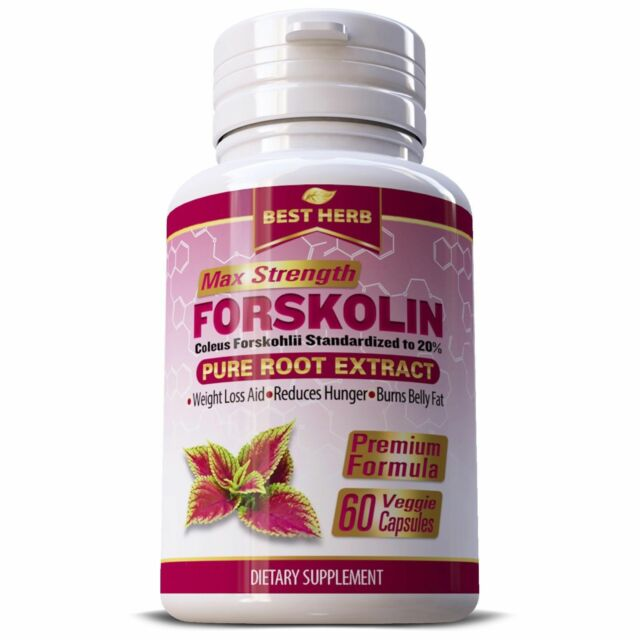 Pure Active Forskolin 250mg Coleus Forskohlii Root Extract 60 Capsules
