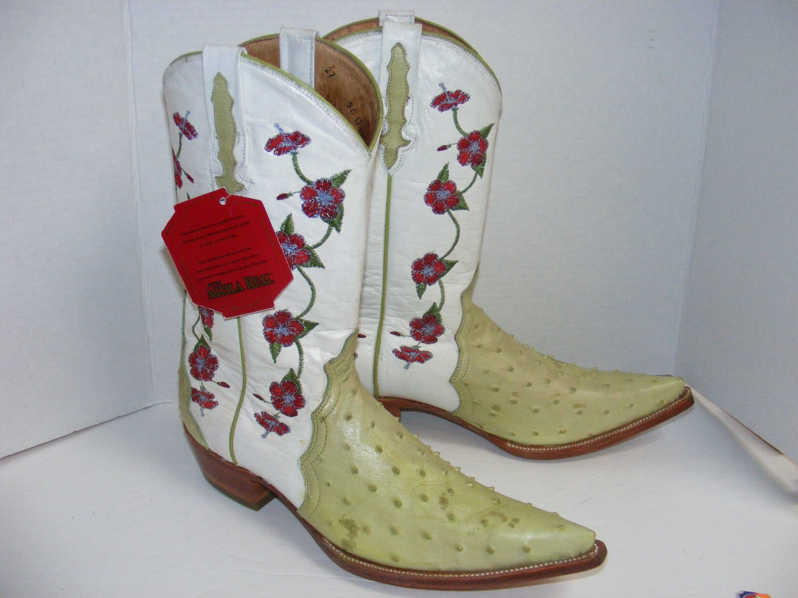 NWT BOOTS Green Ostrich & embroidered flowers WESTERN COWBOY AGUILA REAL Men 7.5