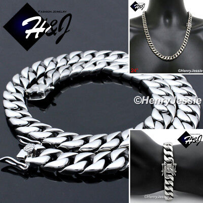"""18-40/""""MEN/'s Stainless Steel WIDE 12mm Silver Cuban Curb Link Chain Necklace*N117"""