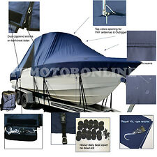 Carolina Skiff 198 DLV Center Console Fishing T-Top Hard-Top Boat Cover Navy