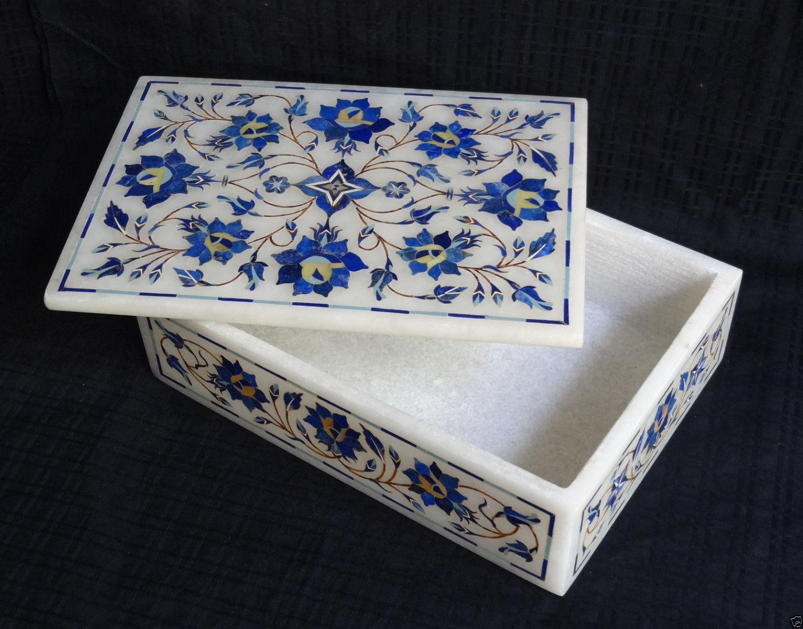 7 x5 x2  Marble Jewelry Box Rare Lapis Stone Mosaic Floral Home Decor