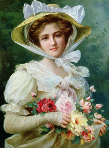 Lady with Bonnet and Roses by  Emile Vernon