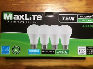 4-pack-New-75-Watt-Equivalent-A19-LED-Light-Bulb-dimmable-daylight-5000k