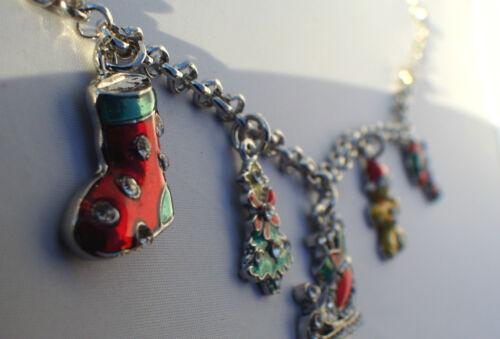 tree,stocking,tree,sleigh, NEW Christmas charm bracelet 7 inch w 2in extender