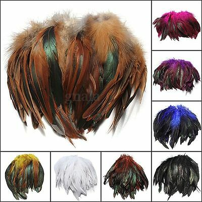 "100Pcs Fluffy Beautiful Color Rooster tail Feathers 6-8"" DIY Craft Decoration"