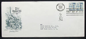US-Artmaster-Cachet-Cover-FDC-Bunker-Hill-Pair-Pair-USA-First-Day-Cover-H-7217