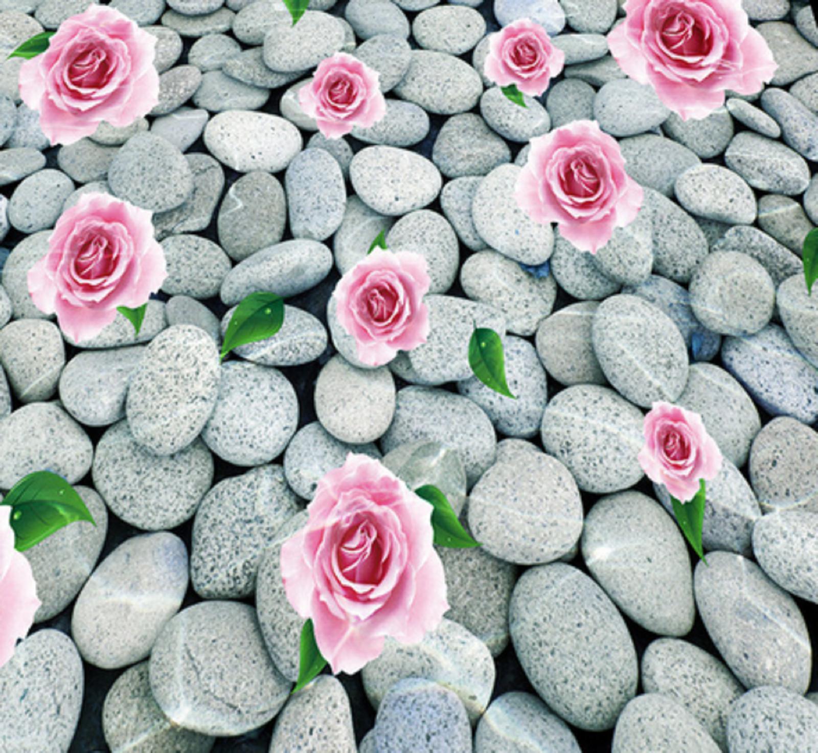 3D Rose Stones Stones Stones Sea 4 Floor WallPaper Murals Wall Print Decal AJ WALLPAPER Summer baebb6