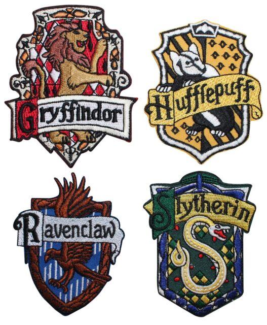 Set Of 4 Hogwarts House Crests Robe Emblems Harry Potter Iron On