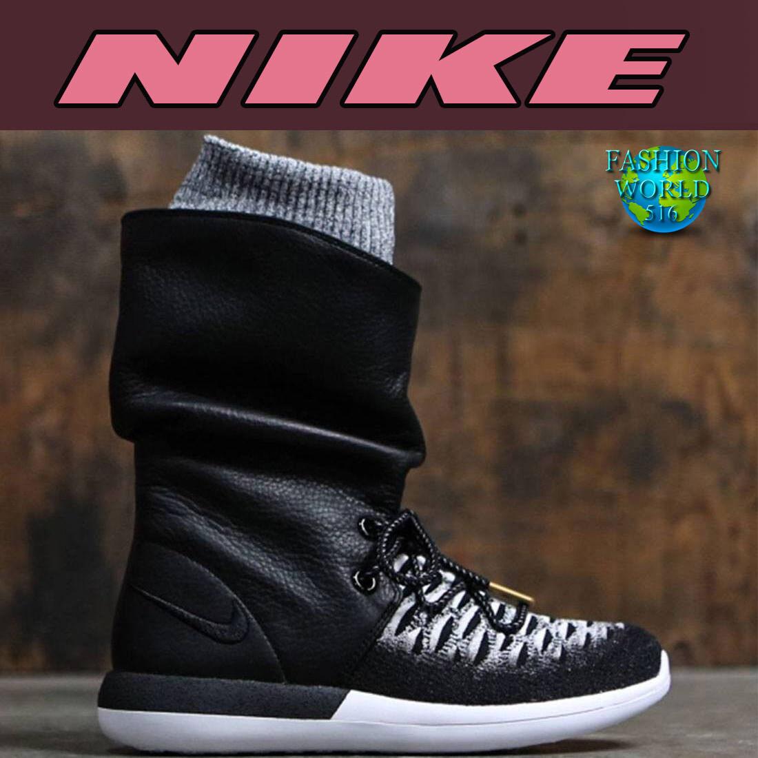 NIKE Women's 861708 Size 6.5 Roshe Two Flyknit Hi Boots 861708 Women's   Black/White 2a3c3d