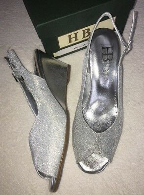 HB Damas Italiano Zapatos UK 8 EUR 41 Plata Sandalia De Cuña Boda Fiesta Vestido