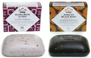 Nubian-Heritage-1-Afri-Black-Soap-amp-1-Goats-Milk-Soap-5oz-Bars-Shea-Butter