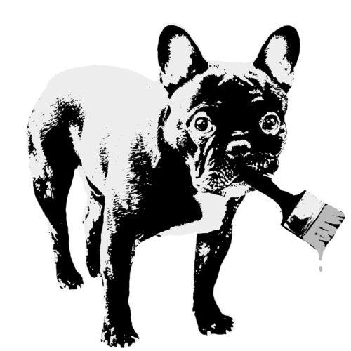T04 Bügelbild Bügeltransfer Bulldogge Hund auf DIN A4 o DIN A5 für alle Stoffe Basteln & Kreativität