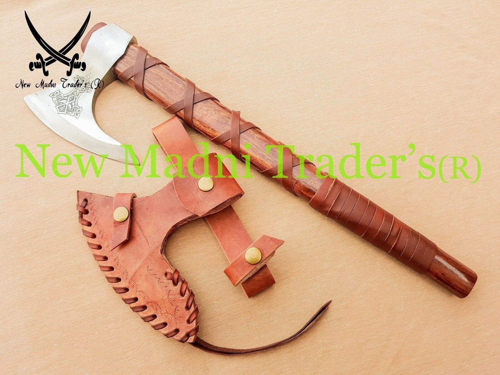 NEW 18  HIGH CARBON STEEL pink WOOD WITH VIKING LOGO BEARDED RAGNAR VIKING AXE