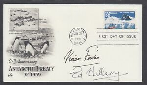 Sir Edmund Hillary, Sir Vivian Fuchs, Antarctic Explorers, signed ArtCraft FDC