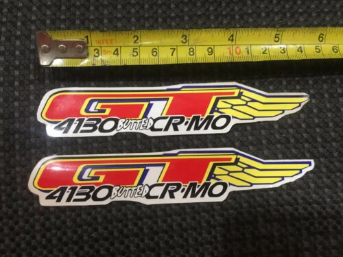 NOS Set of 2 GT Wing 4130 BUTTED CR-MO DECAL STICKERS BMX Old School