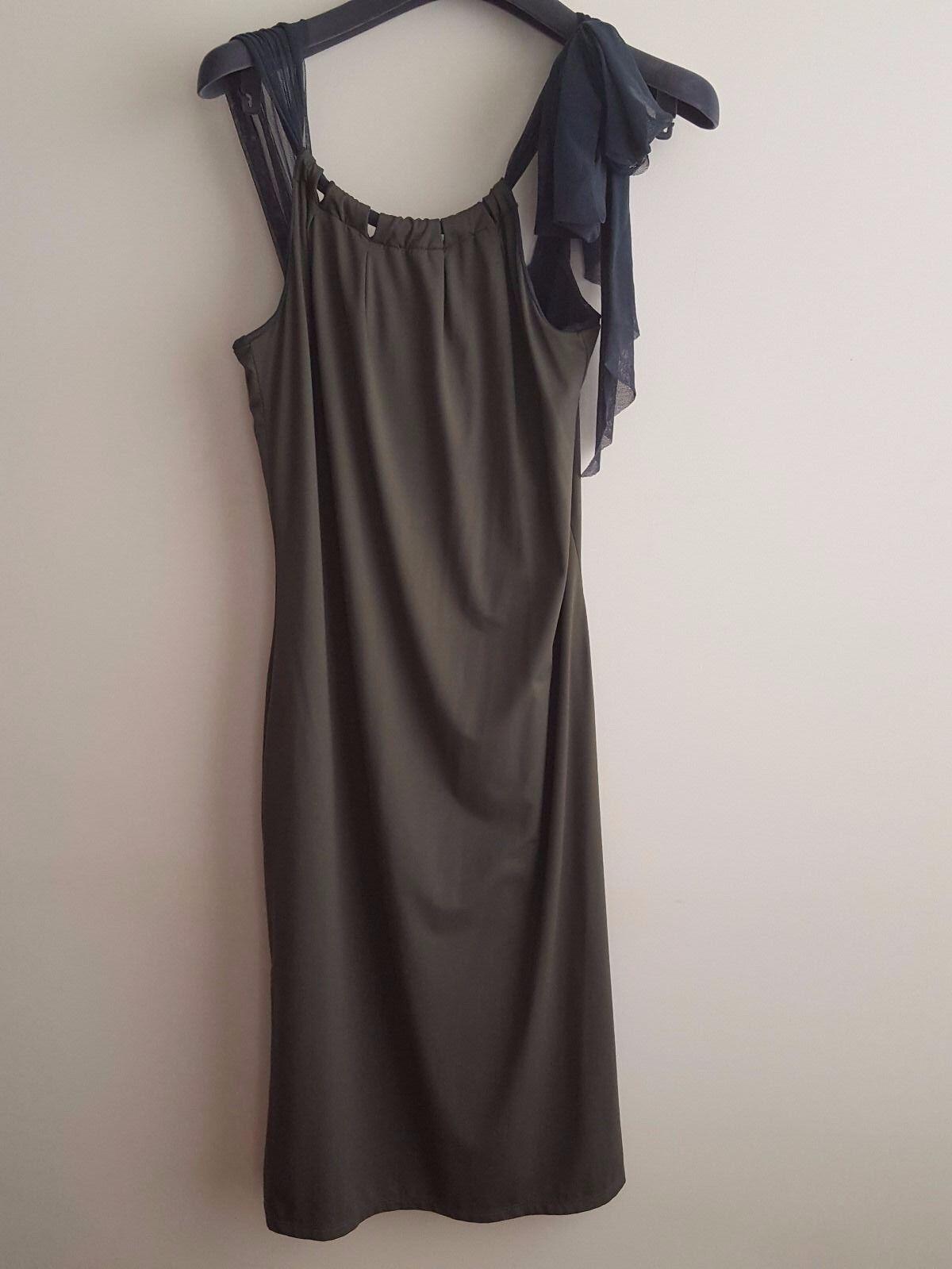 NWT  FUZZI FUZZI FUZZI Summer Italian Khaki Dress Halter Top Straps in Teal  Size L 99f3bf
